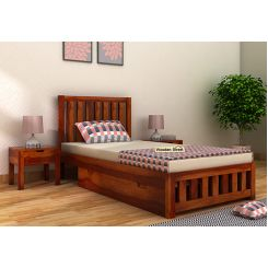 Douglas Single Bed With Storage (Honey Finish)