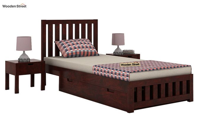 Douglas Single Bed With Storage (Mahogany Finish)-1