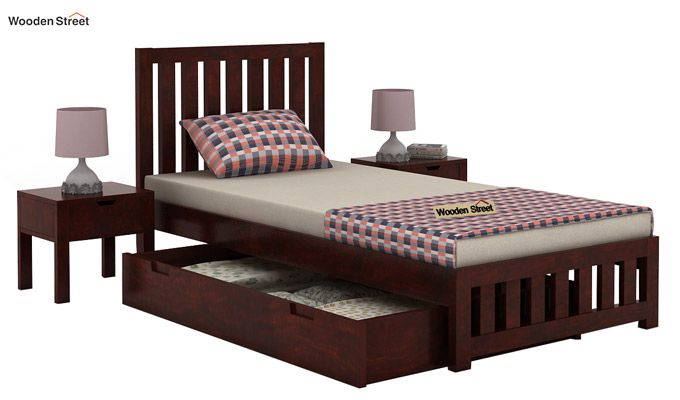 Douglas Single Bed With Storage (Mahogany Finish)-4