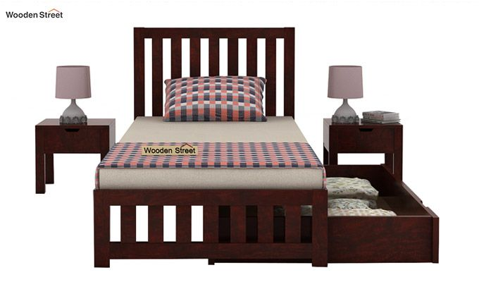 Douglas Single Bed With Storage (Mahogany Finish)-5