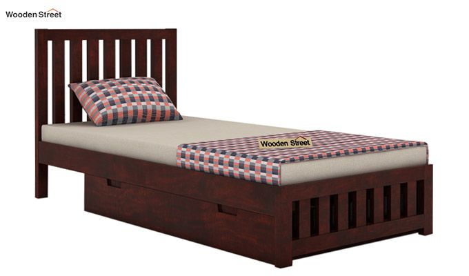 Douglas Single Bed With Storage (Mahogany Finish)-3