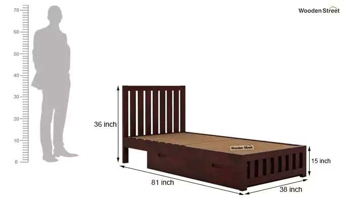 Douglas Single Bed With Storage (Mahogany Finish)-7