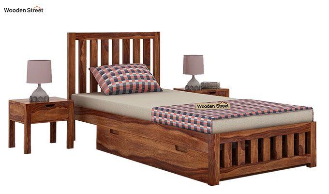 Douglas Single Bed With Storage (Teak Finish)-1