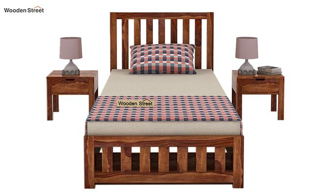 Douglas Single Bed With Storage (Teak Finish)-2