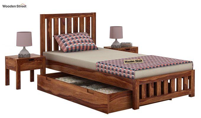 Douglas Single Bed With Storage (Teak Finish)-4
