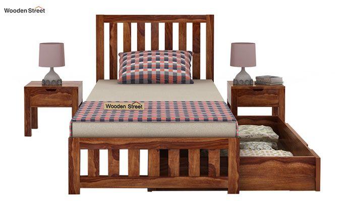 Douglas Single Bed With Storage (Teak Finish)-5