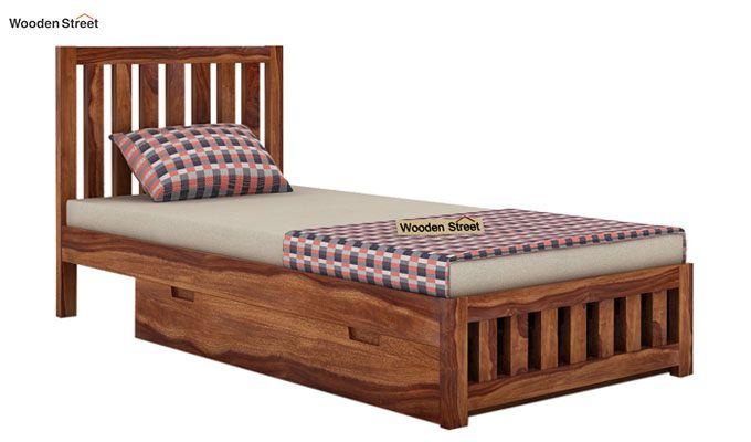 Douglas Single Bed With Storage (Teak Finish)-3