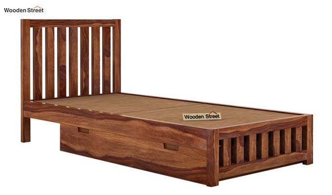 Douglas Single Bed With Storage (Teak Finish)-6