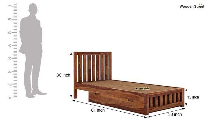 Douglas Single Bed With Storage (Teak Finish)-7