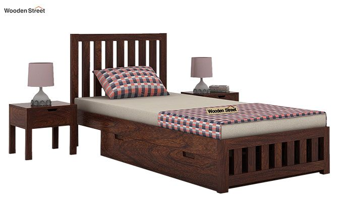 Douglas Single Bed With Storage (Walnut Finish)-1