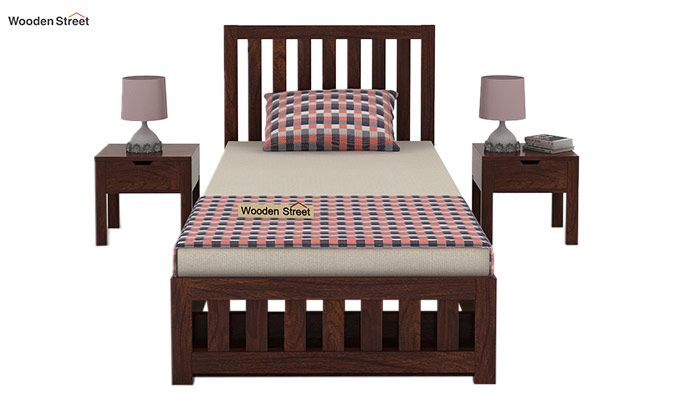Douglas Single Bed With Storage (Walnut Finish)-2