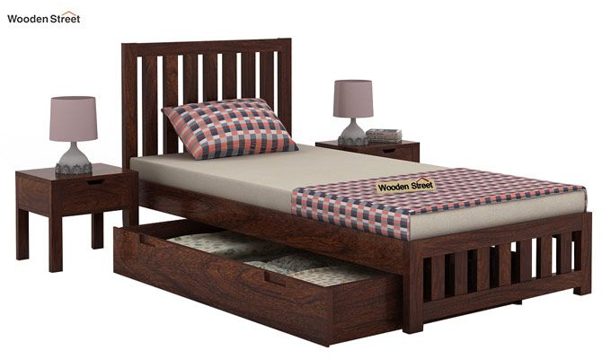 Douglas Single Bed With Storage (Walnut Finish)-4