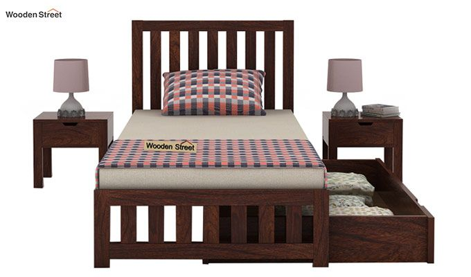 Douglas Single Bed With Storage (Walnut Finish)-5