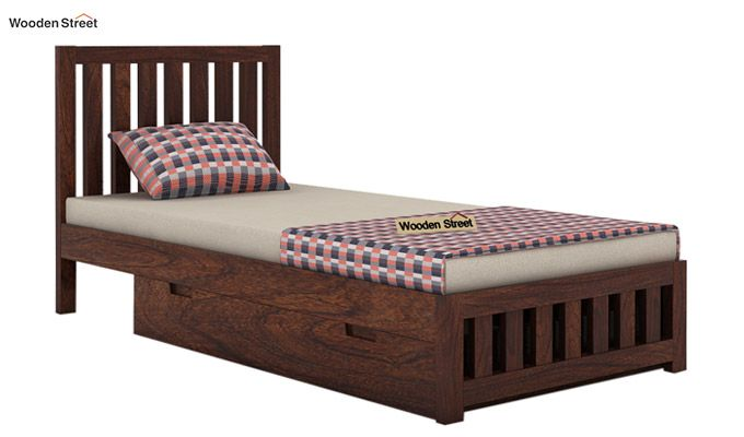 Douglas Single Bed With Storage (Walnut Finish)-3