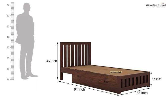 Douglas Single Bed With Storage (Walnut Finish)-7
