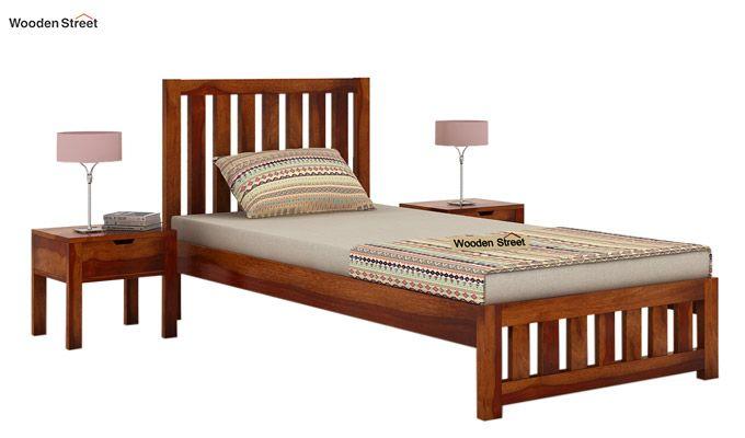 Douglas Single Bed Without Storage (Honey Finish)-1