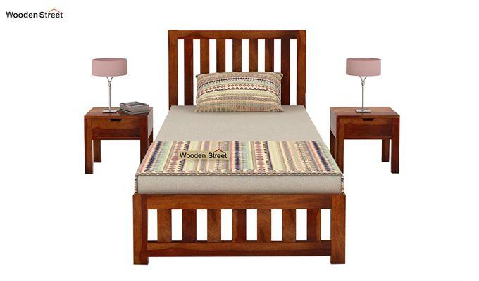 Douglas Single Bed Without Storage (Honey Finish)-2