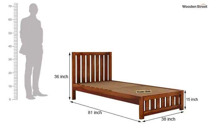 Douglas Single Bed Without Storage (Honey Finish)-5