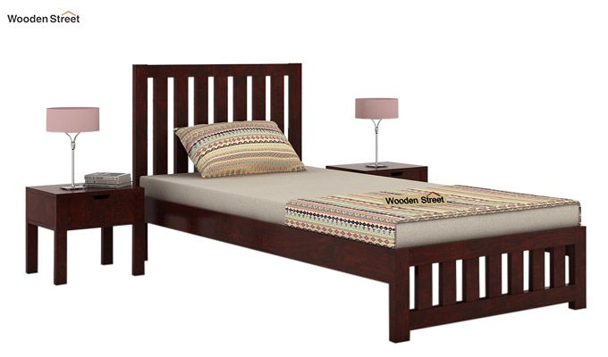 Douglas Single Bed Without Storage (Mahogany Finish)-1