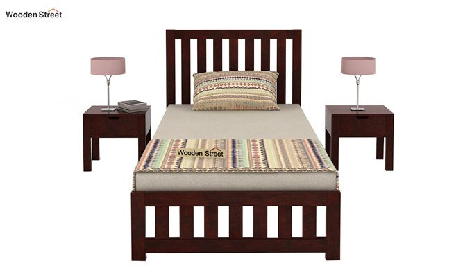 Douglas Single Bed Without Storage (Mahogany Finish)-2
