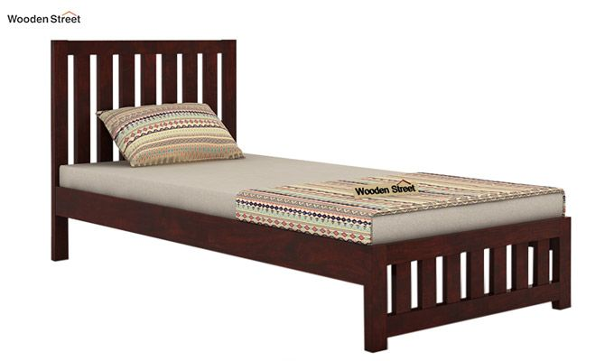 Douglas Single Bed Without Storage (Mahogany Finish)-3