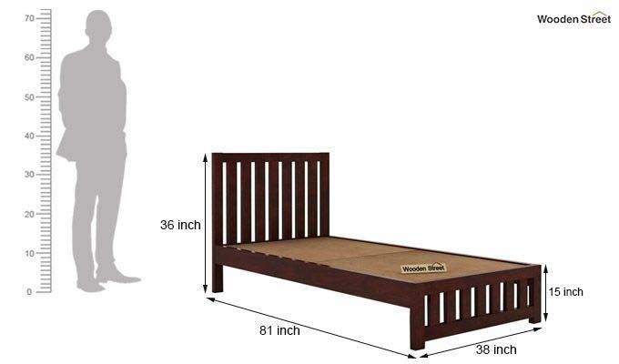 Douglas Single Bed Without Storage (Mahogany Finish)-5