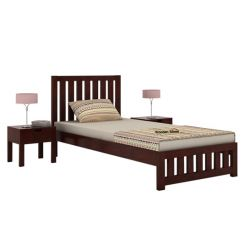 Douglas Single Bed Without Storage (Mahogany Finish)