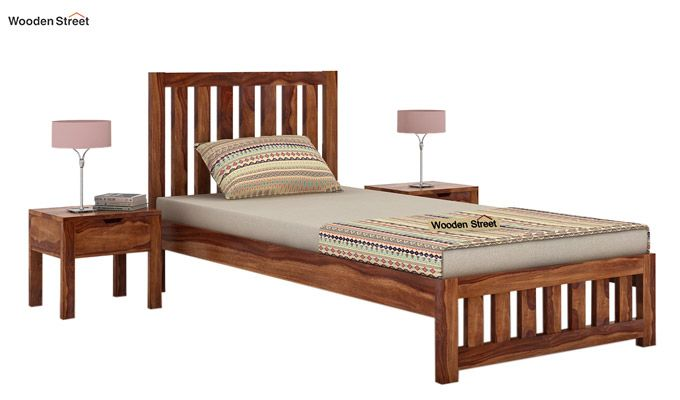Douglas Single Bed Without Storage (Teak Finish)-1