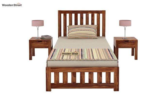Douglas Single Bed Without Storage (Teak Finish)-2