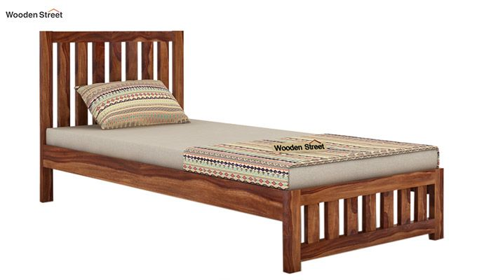 Douglas Single Bed Without Storage (Teak Finish)-3