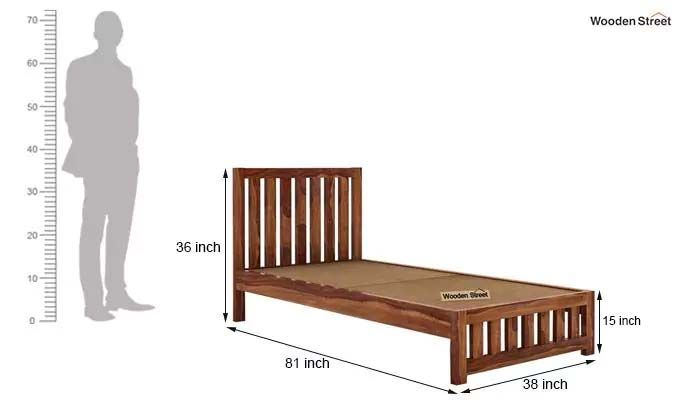 Douglas Single Bed Without Storage (Teak Finish)-5