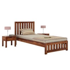 Douglas Single Bed Without Storage (Teak Finish)