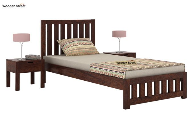 Douglas Single Bed Without Storage (Walnut Finish)-2