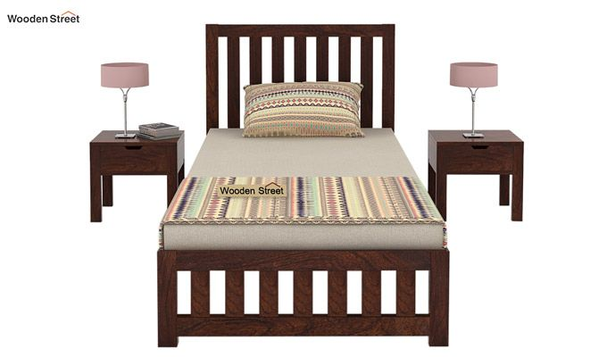 Douglas Single Bed Without Storage (Walnut Finish)-3