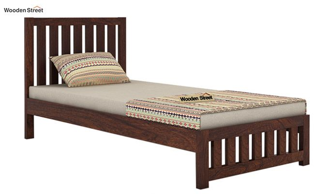 Douglas Single Bed Without Storage (Walnut Finish)-4