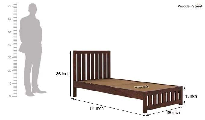 Douglas Single Bed Without Storage (Walnut Finish)-6