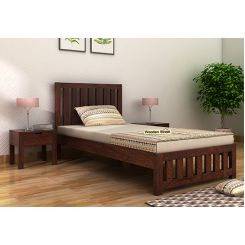 Douglas Single Bed Without Storage (Walnut Finish)