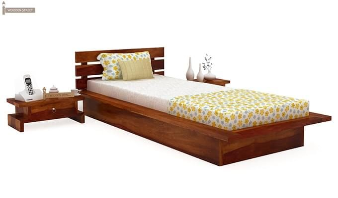 Dwayne Single Bed (Honey Finish)-1