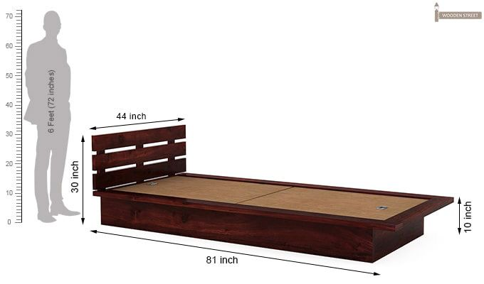 Dwayne Single Bed (Mahogany Finish)-7