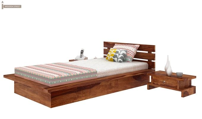 Dwayne Single Bed (Teak Finish)-5