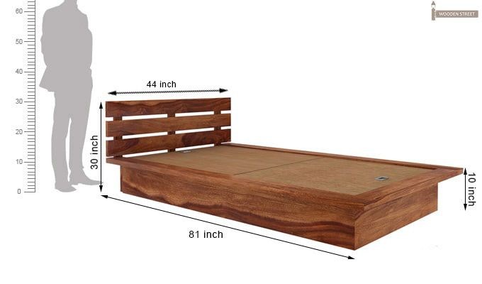 Dwayne Single Bed (Teak Finish)-7