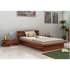 Dwayne Single Bed (Teak Finish)