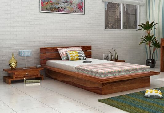 Dwayne low floor single bed in solid wood and teak finish
