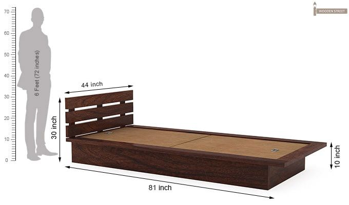 Dwayne Single Bed (Walnut Finish)-7
