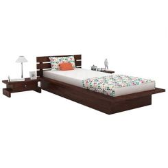 Dwayne Single Bed (Walnut Finish)