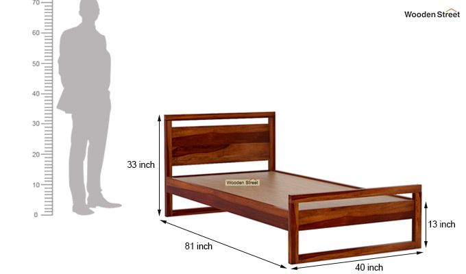 Felix Single Bed Without Storage (Honey Finish)-7