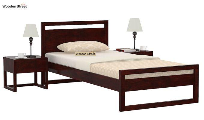 Felix Single Bed Without Storage (Mahogany Finish)-1