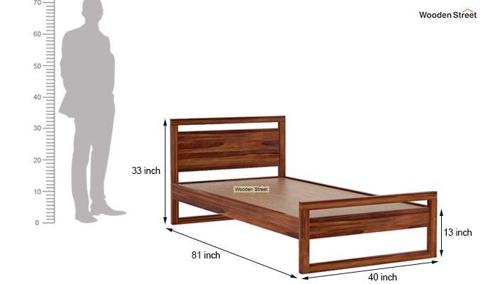 Felix Single Bed Without Storage (Teak Finish)-6
