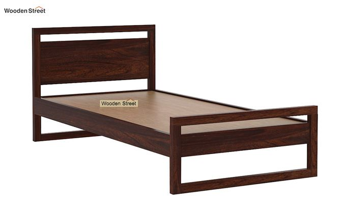 Felix Single Bed Without Storage (Walnut Finish)-5