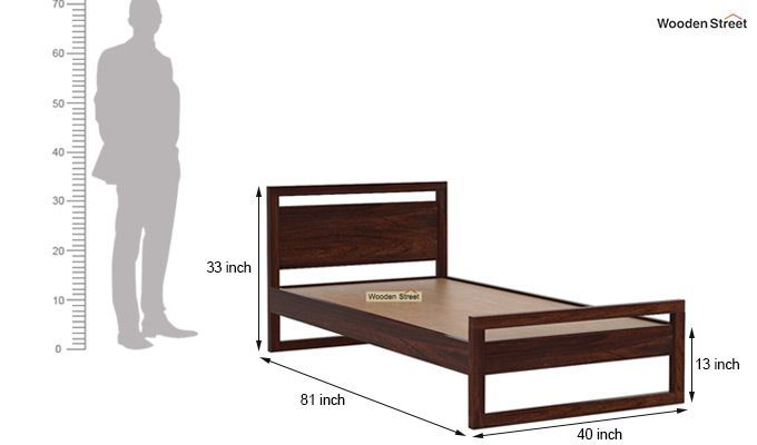 Felix Single Bed Without Storage (Walnut Finish)-6
